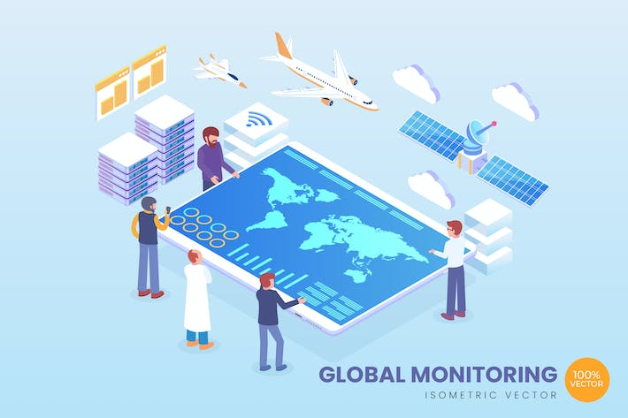 Thumbnail for Isometric Global Monitoring Vector Concept