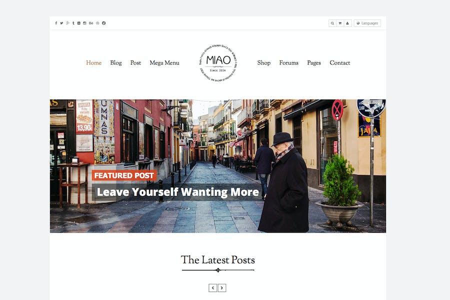 Miao - Clean Blog & Shop WordPress Theme