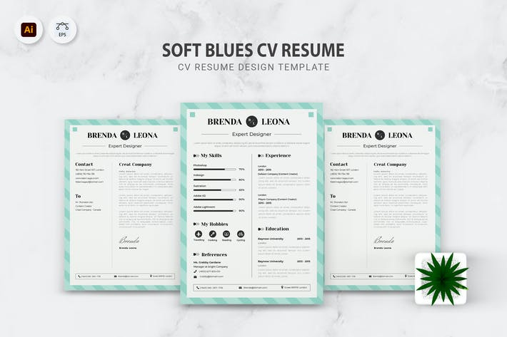 Thumbnail for Soft Blues CV Resume