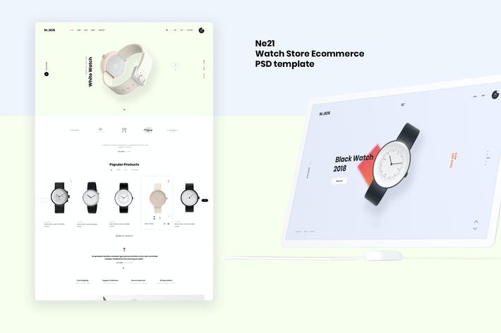 Thumbnail for Ne21 - Watch store Ecommerce PSD template