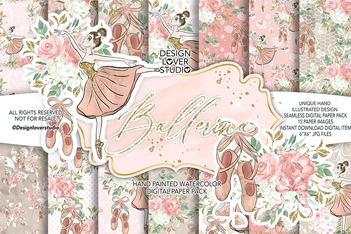 Cover Image For Ballerina digital paper pack