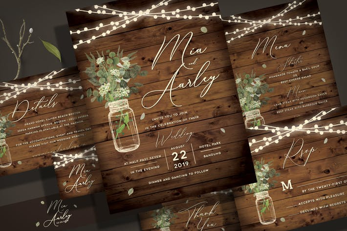 Thumbnail for Rustic Wedding Invitation Set