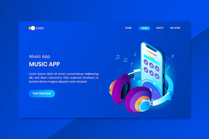 Mobile Isometric Concept Landing Page