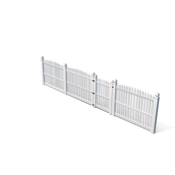 White Fencing Palisade Pointed Pales