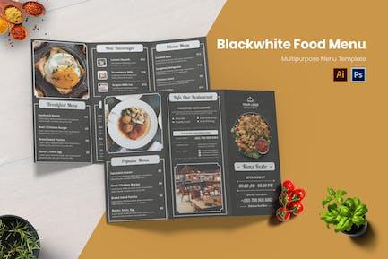 Blackwhite Concept Food Menu