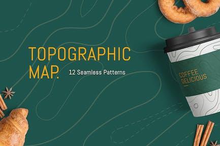 12 Patrón topográfico de mapa sin costuras