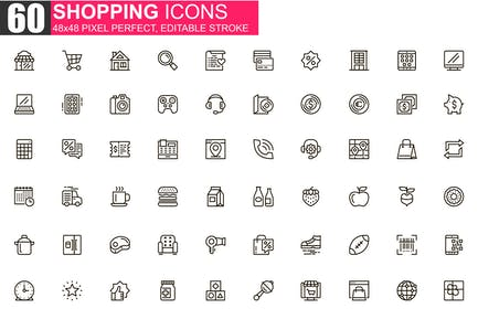 Shopping Thin Line Icons Pack