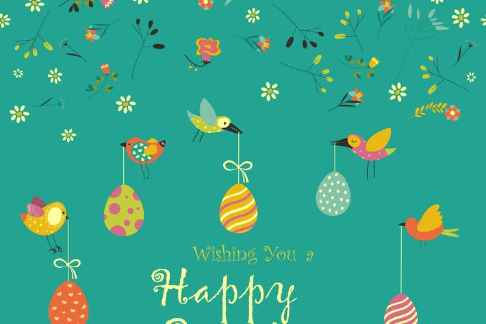 Thumbnail for Vector Easter greeting card with decorative eggs