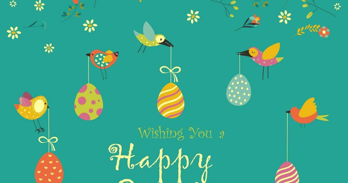 Download Vector Easter greeting card with decorative eggs by masastarus