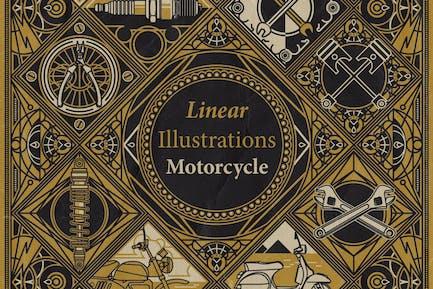 Ilustraciones lineales - Moto