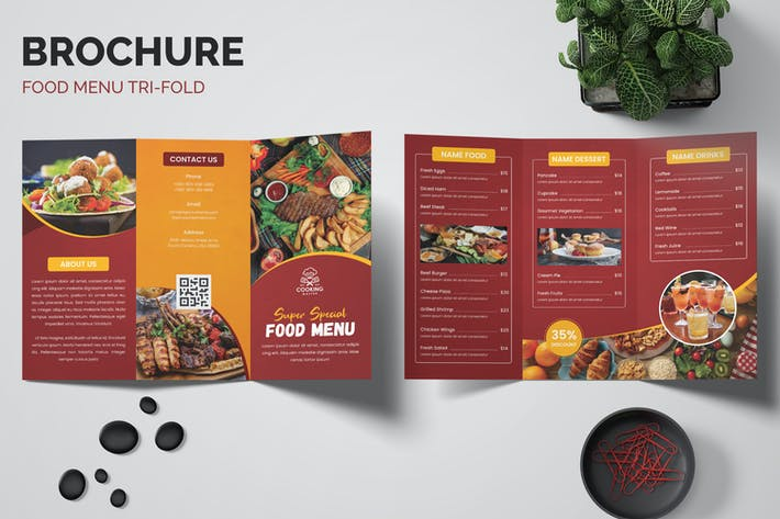 Food Restaurants Trifold Brochure