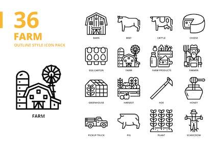 Farm Gliederung Stil Icon Set