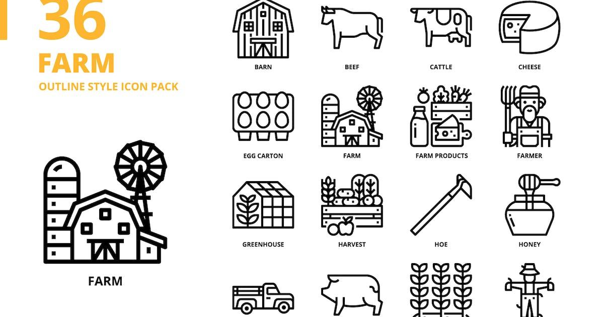 Download Farm Outline Style Icon Set by monkik