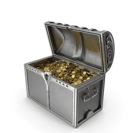 Cofre Plata Con Monedas De Oro