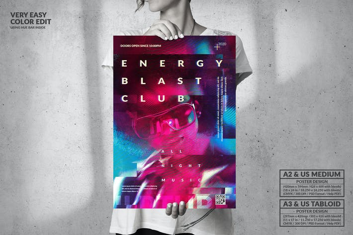 Thumbnail for Energy Blast Club Party - Big Poster Design