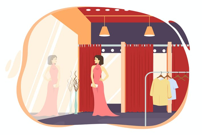 Thumbnail for Beautiful girl trying on a dress in a fitting room