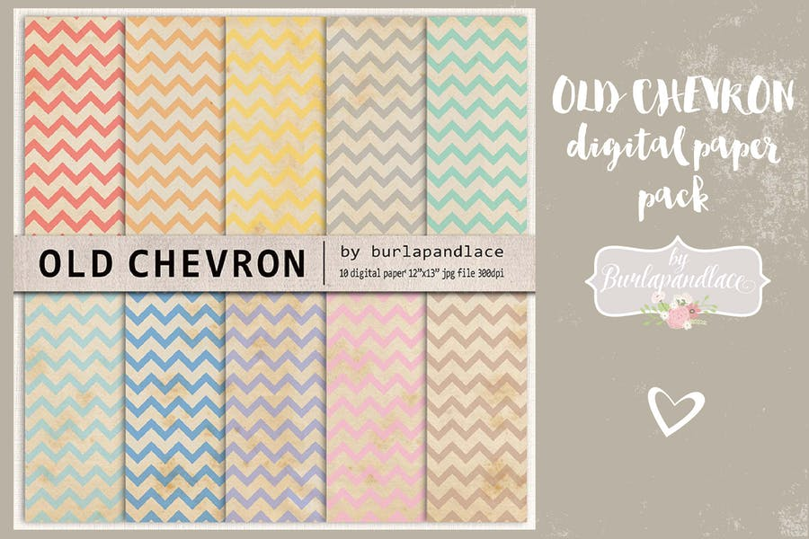 Old Chevron digital paper pack