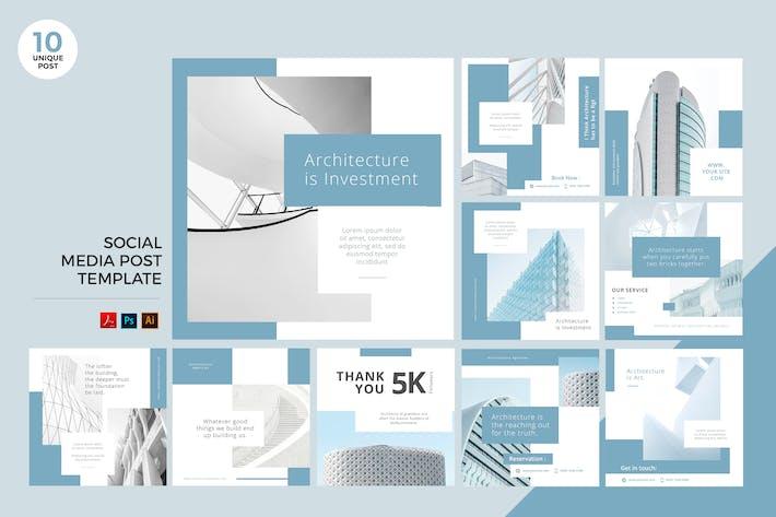 Thumbnail for Архитектура социальных медиа Kit PSD & AI Шаблон