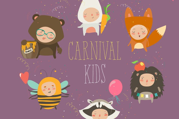 Thumbnail for Set of cute kids wearing animal costumes. Vector