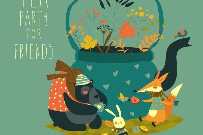 Thumbnail for Cute animals friends sitting around teapot
