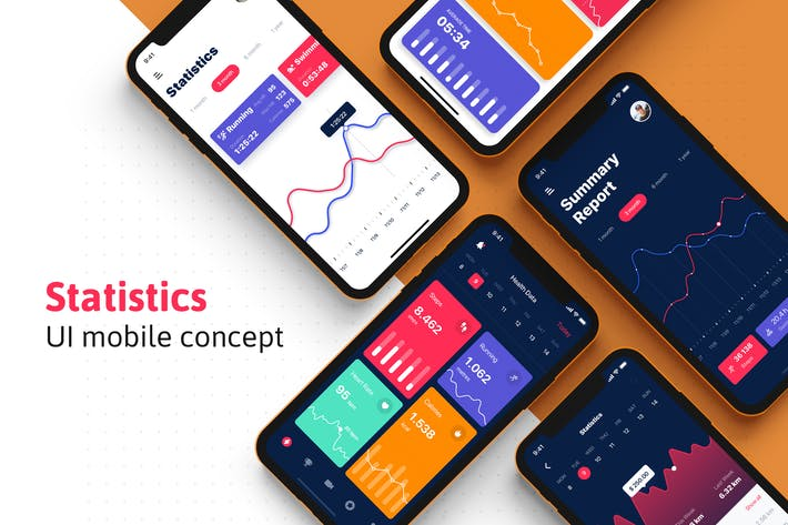 Thumbnail for Analysis Dashboard & Statistics UI mobile App