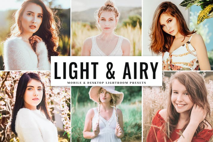 Thumbnail for Light & Airy Mobile & Desktop Lightroom Presets
