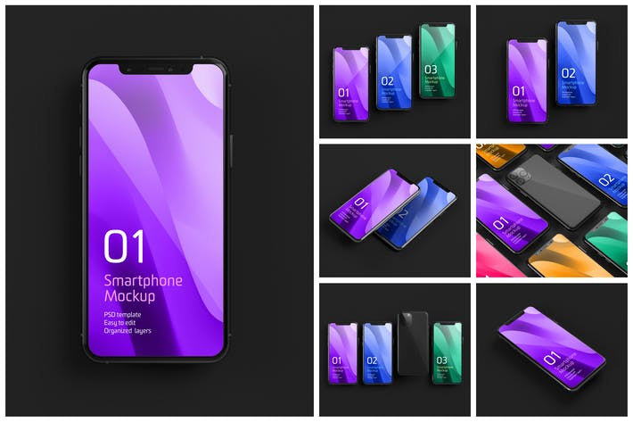 Cover Image For Dark iPhone 11 Mockup Set | Smartphone Screen