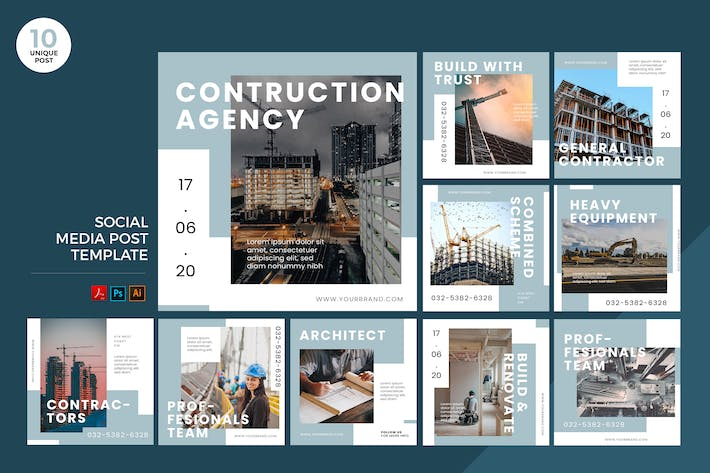Cover Image For Building Architecture Social Media Kit PSD & AI