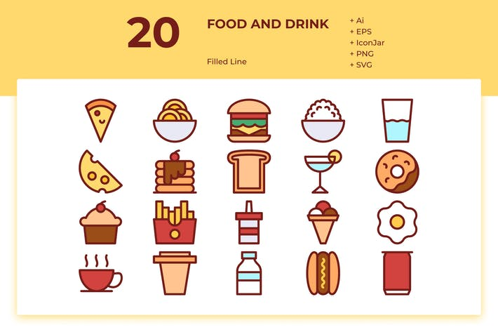 Thumbnail for 20 Food & Drink Icons (Filled Line)