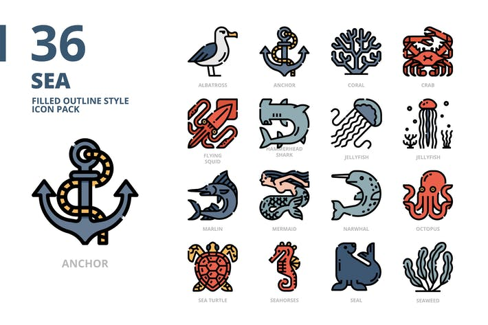 Thumbnail for Meer gefüllte Kontur Stil Icon Pack