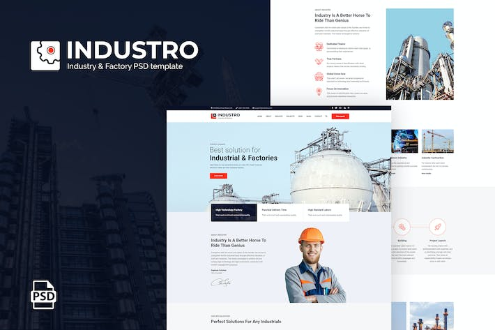 Thumbnail for Industro - Industrial PSD Template
