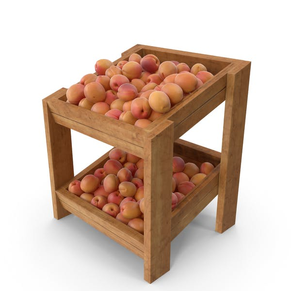 Wooden Merchandise Shelf with Apricots