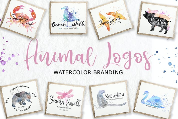 Cover Image For Watercolor Animal Logos