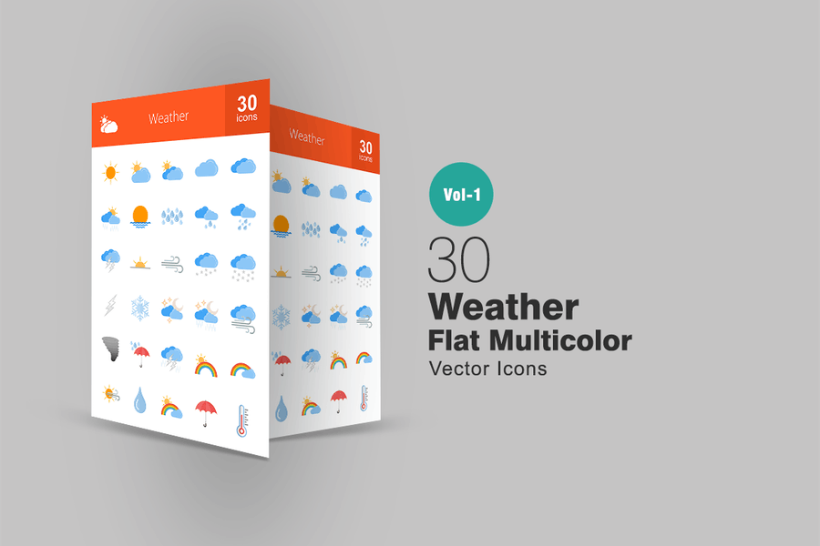30 Wetter Flat Multicolor Icons