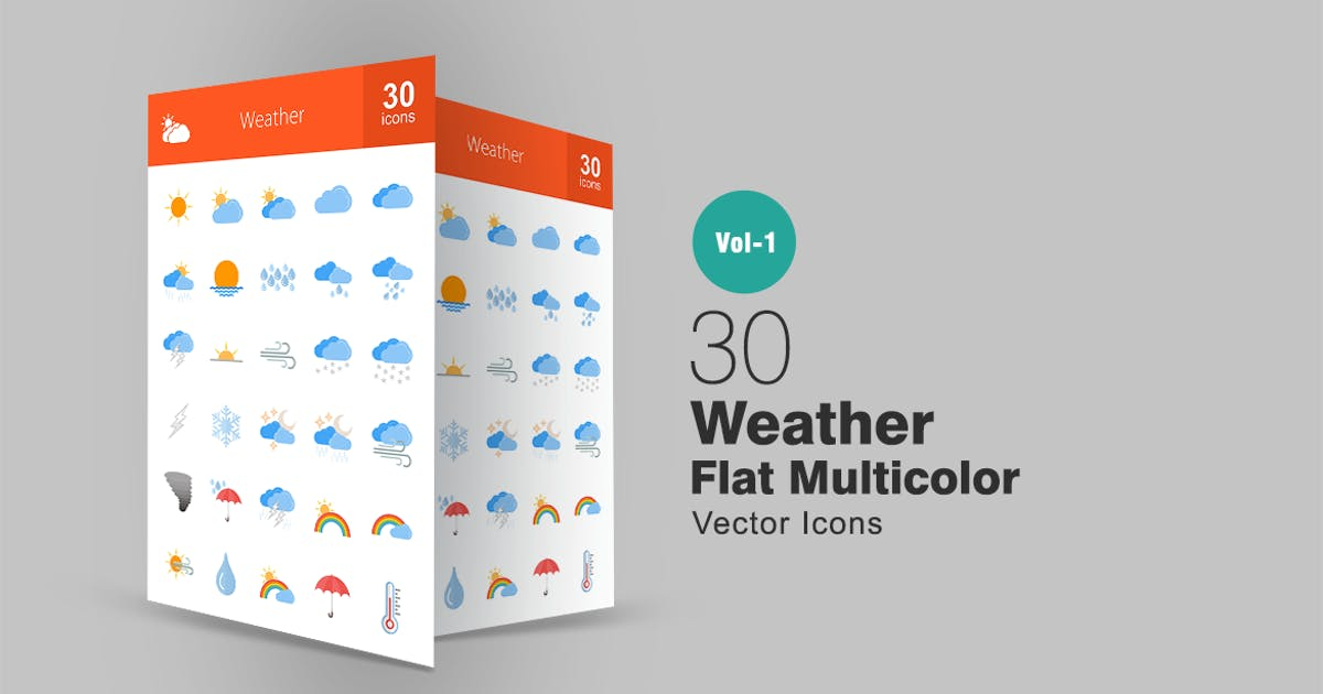 30 Weather Flat Multicolor Icons by IconBunny