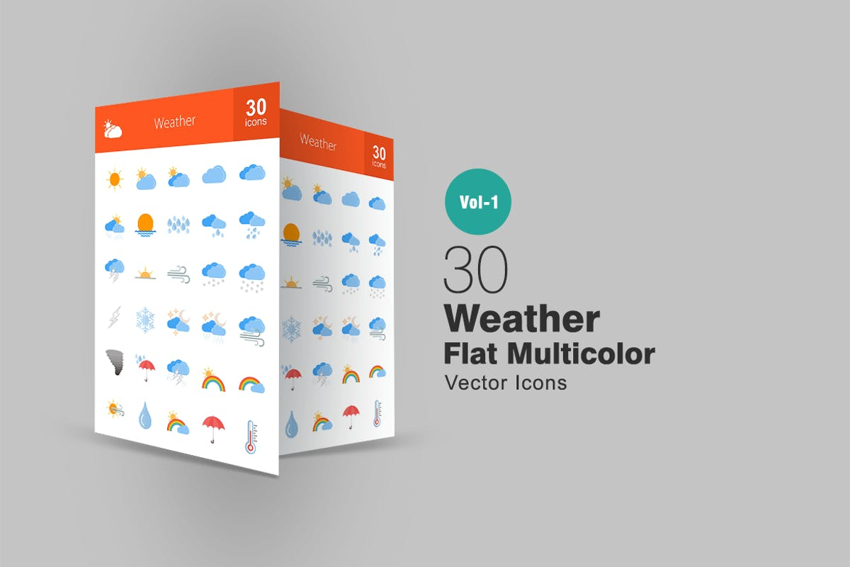 Download 30 Weather Flat Multicolor Icons by IconBunny by Unknow