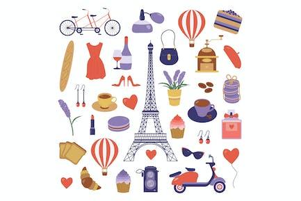 Reise nach Paris Frankreich Icons Set