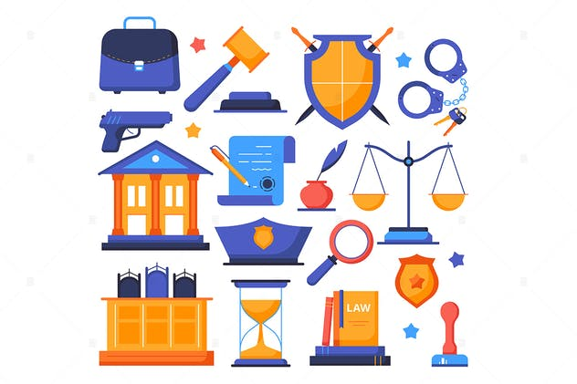 Law and order - flat design style elements - product preview 1
