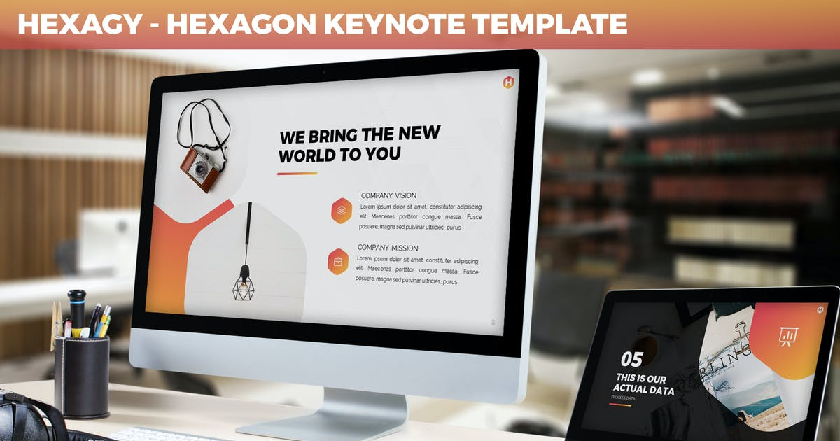 Download Hexagy - Hexagon Style Keynote Template by SlideFactory