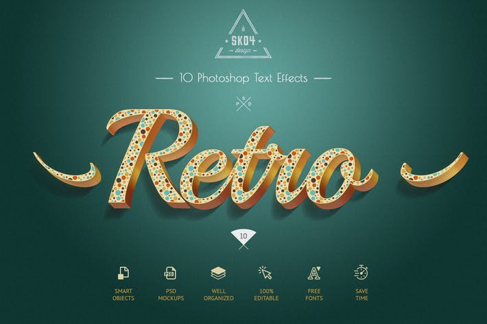 Thumbnail for Retro Colorful Text Effects - 10 PSD