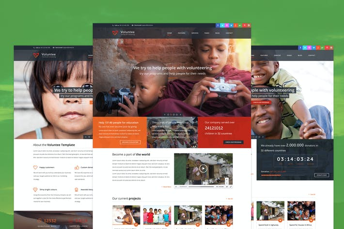 Thumbnail for Voluntee - Fundraising & Charity PSD template
