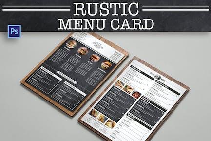 Rustic Burger Menu Card