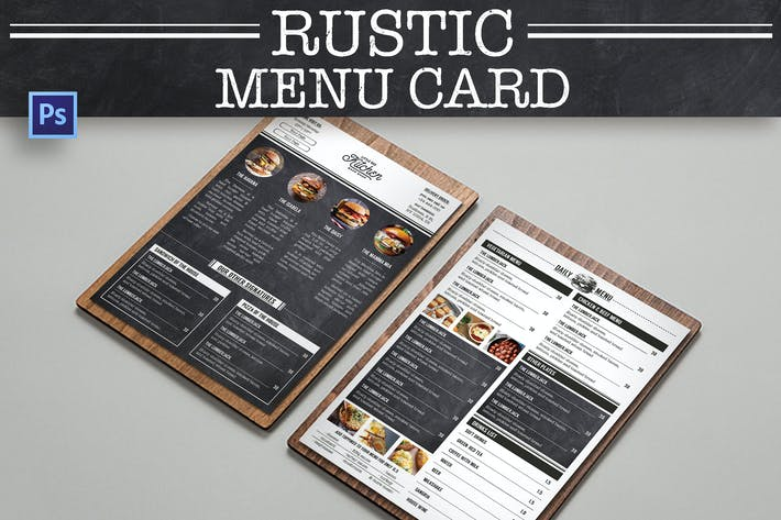 Cover Image For Rustic Burger Menu Card