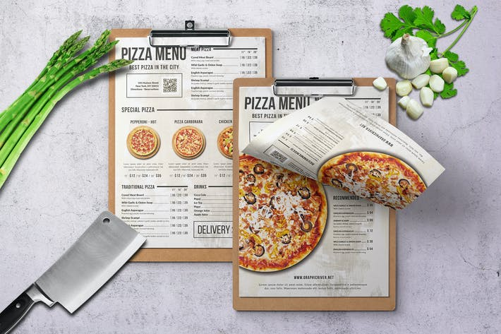 Pizza Elegant Trifold Menu A4 & US Letter