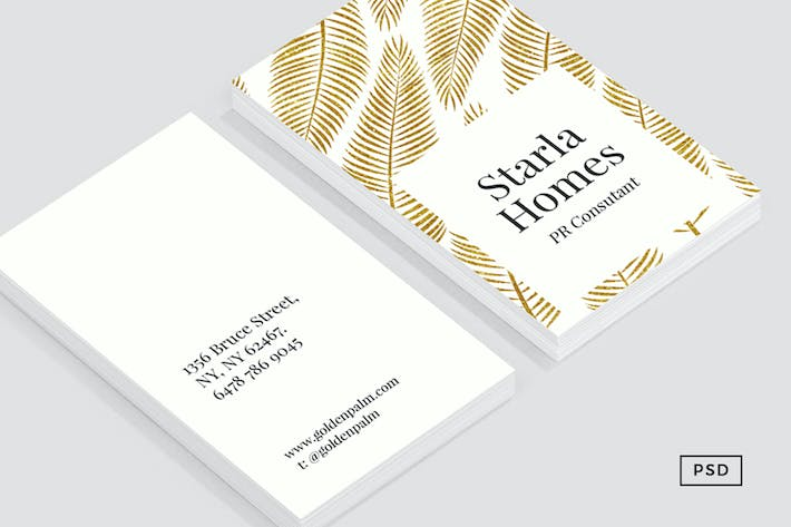 Thumbnail for Golden Palm Business Card Template