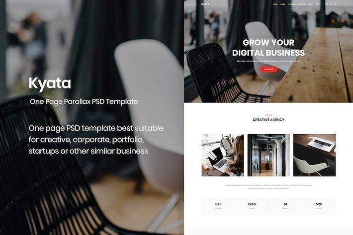 Thumbnail for Kyata | One Page Parallax PSD Template