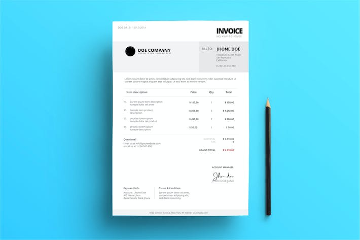 Thumbnail for Business Invoice Black and Grey