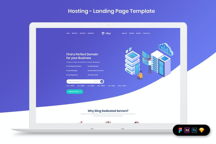 Thumbnail for Hosting - Landing Page Template
