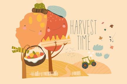 Landwirtschaftliche Herbstlandschaften mit Traktor, Heu