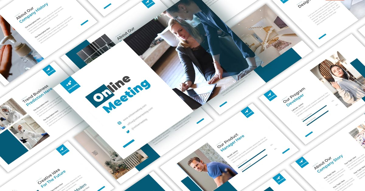 Download Online Meeting - Business PowerPoint Template by CocoTemplates